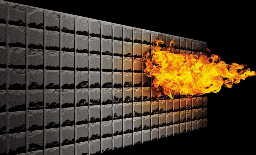 素材は無機質。火に強く煙や有毒ガスが発生しません